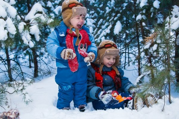 children outside in winter